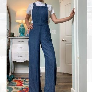 70s Navy overall jumpsuit